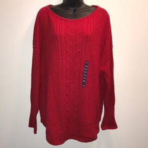 CHAPS Christmas RED Cable Knit SWEATER~Plus XXL~